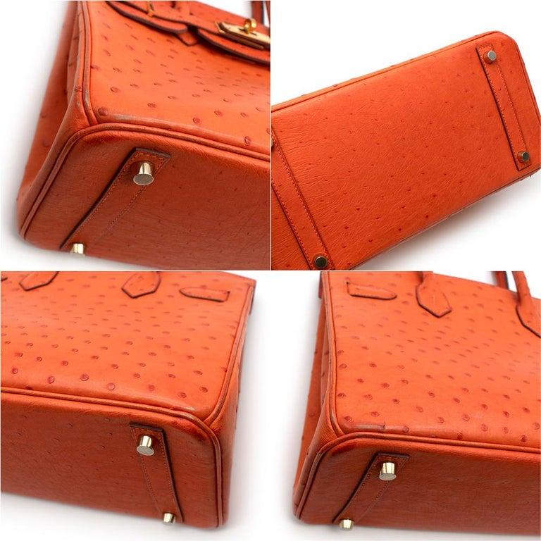 Hermes Birkin 30 Ostrich Tangerine GHW For Sale 2