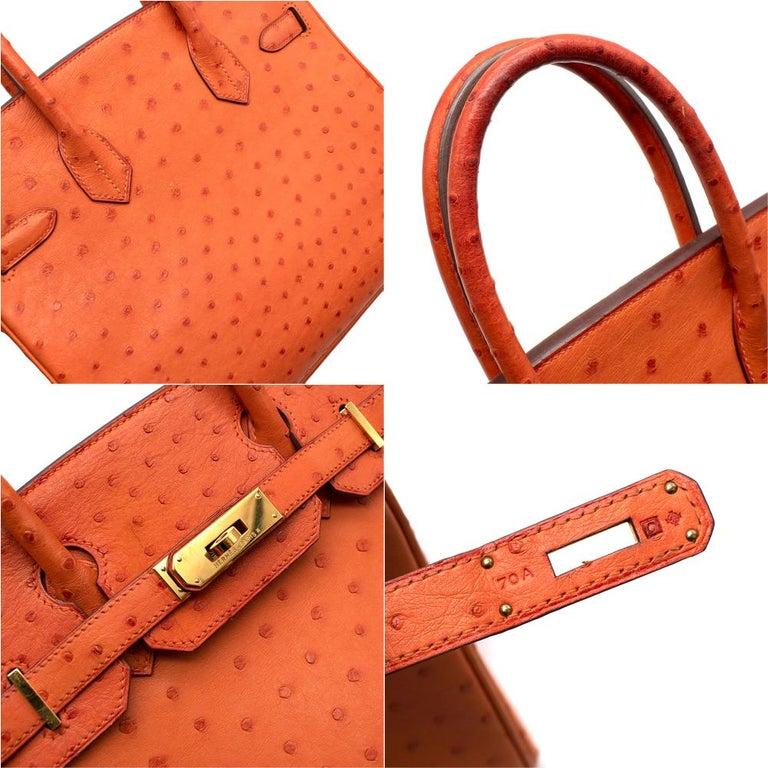 Hermes Birkin 30 Ostrich Tangerine GHW For Sale 3