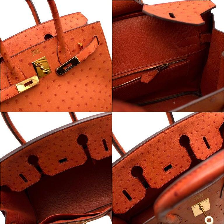 Hermes Birkin 30 Ostrich Tangerine GHW For Sale 4