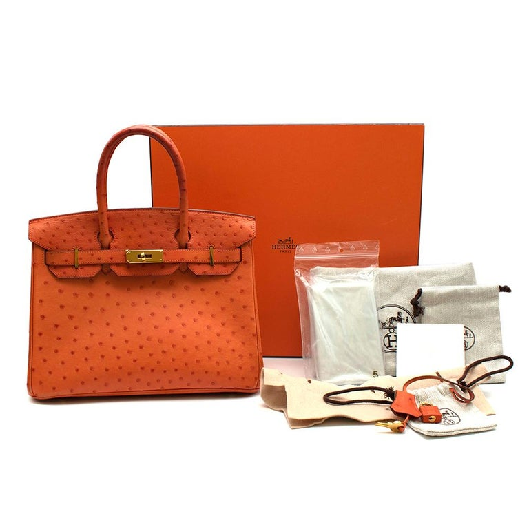 Hermes Birkin 30 Ostrich Tangerine GHW - Gold hardware - Date stamp [O] 2011 - Gorgeous Tangerine orange  - South African Ostrich Leather  - Includes Box, Dust Bags, Clochette, Lock, and Keys.  Materials Ostrich Leather  Height: 22cm  Width: 30cm