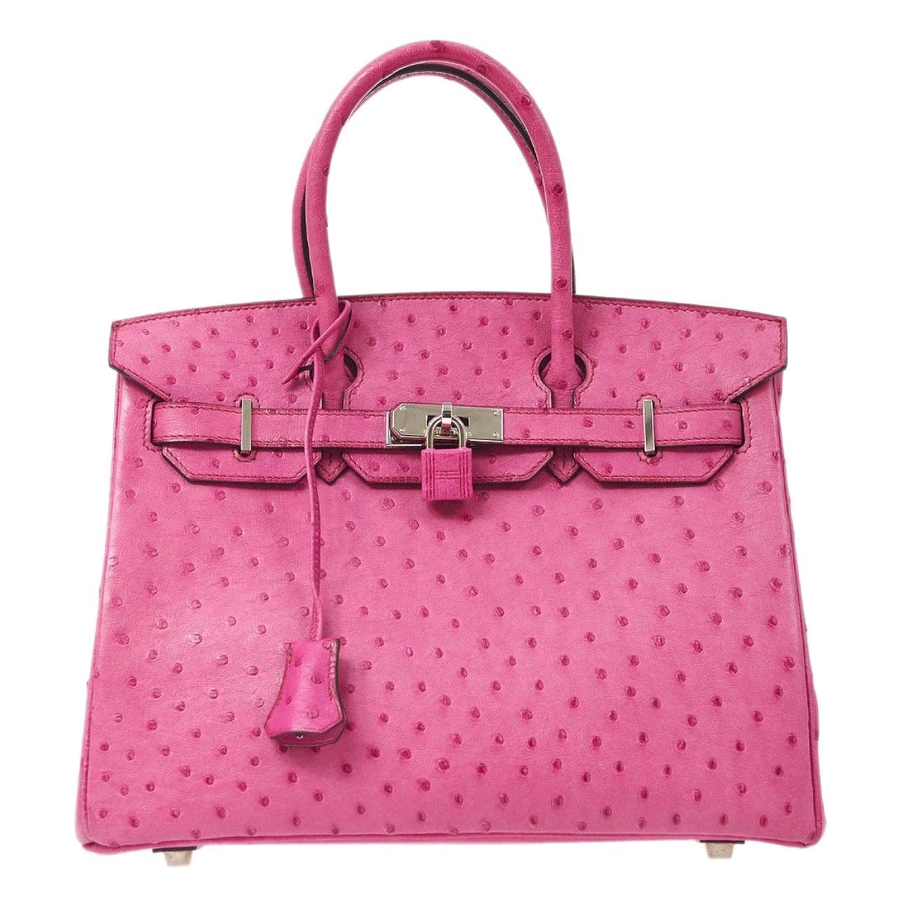 Hermes Birkin 30 Pink Ostrich Leather Exotic Silver Top Handle Satchel Tote Bag