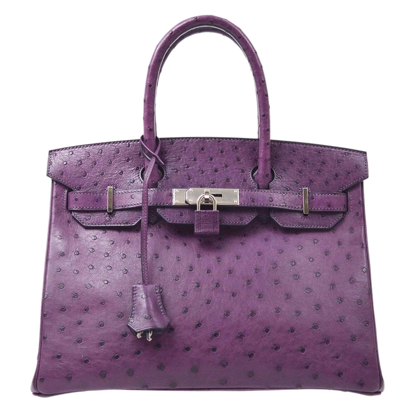 Hermes Birkin 30 Purple Ostrich Exotic Silver Top Handle Satchel Tote Bag