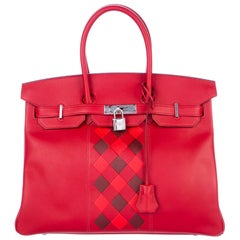 Hermes Birkin 30 Red Black Checker Leather Top Handle Satchel Tote Bag in Box