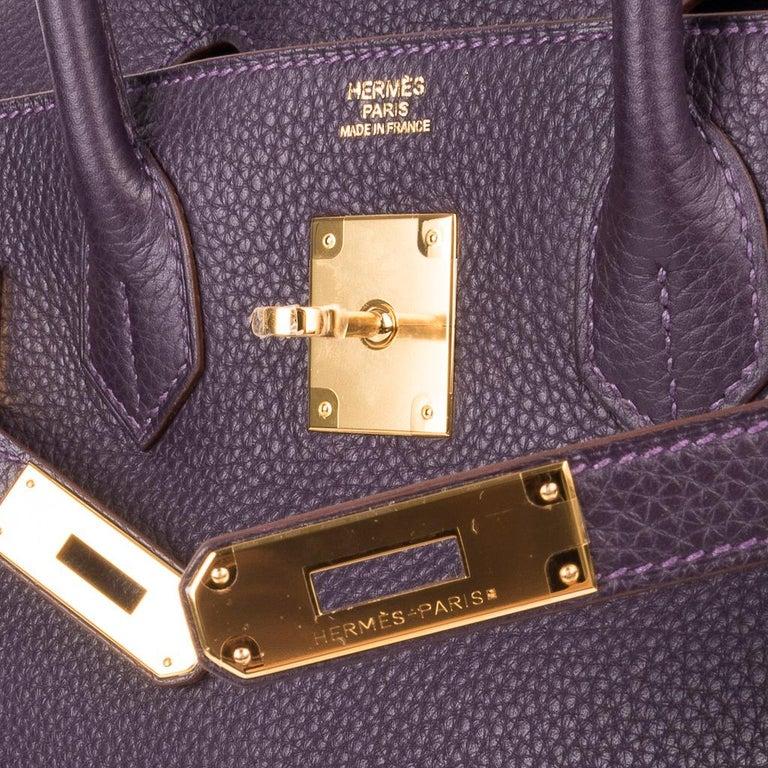 Hermes Birkin 30 Rich Raisin Gold Hardware Original Colour Togo Bag  In New Condition For Sale In Miami, FL