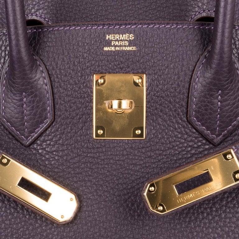 Women's Hermes Birkin 30 Rich Raisin Gold Hardware Original Colour Togo Bag  For Sale