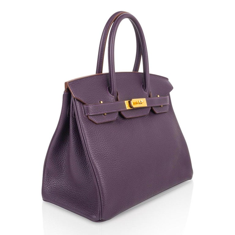 Hermes Birkin 30 Rich Raisin Gold Hardware Original Colour Togo Bag  For Sale 1