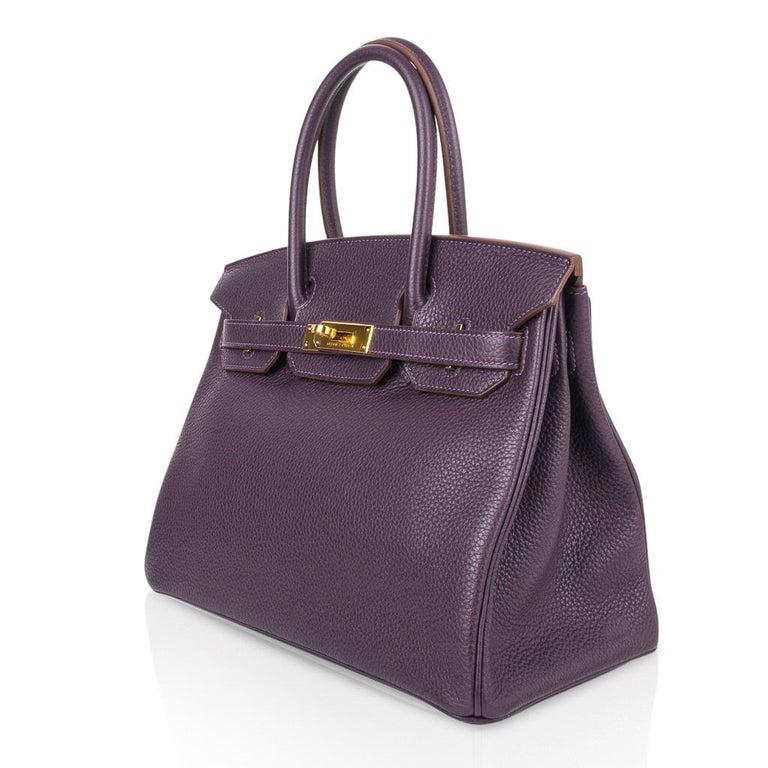 Hermes Birkin 30 Rich Raisin Gold Hardware Original Colour Togo Bag  For Sale 3