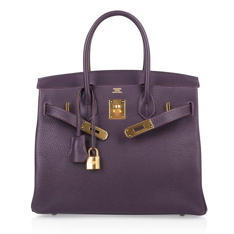 Hermes Birkin 30 Rich Raisin Gold Hardware Original Colour Togo Bag  For Sale 4