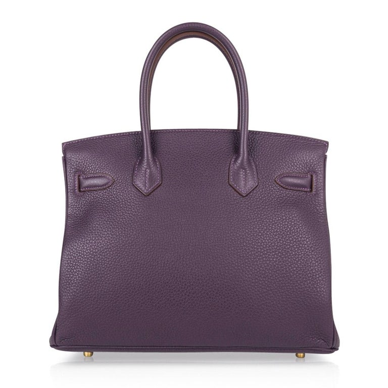 Hermes Birkin 30 Rich Raisin Gold Hardware Original Colour Togo Bag  For Sale 5