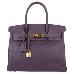 Hermes Birkin 30 Rich Raisin Gold Hardware Original Colour Togo Bag