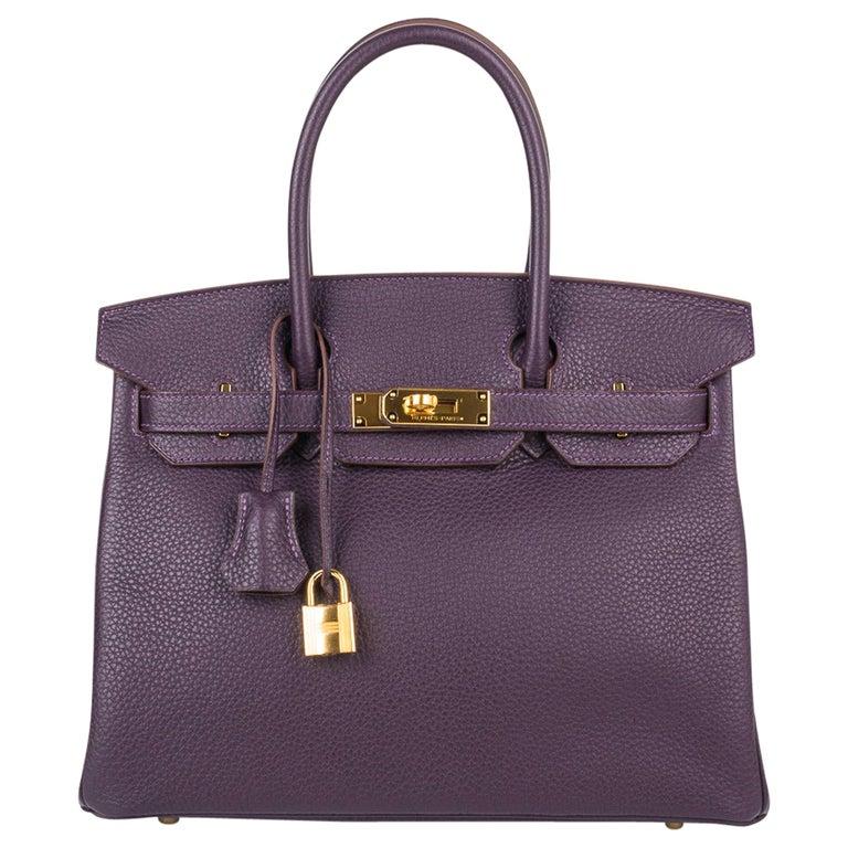 Hermes Birkin 30 Rich Raisin Gold Hardware Original Colour Togo Bag  For Sale