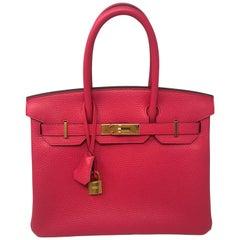 Hermes Birkin 30 Rose Extreme Clemence Bag