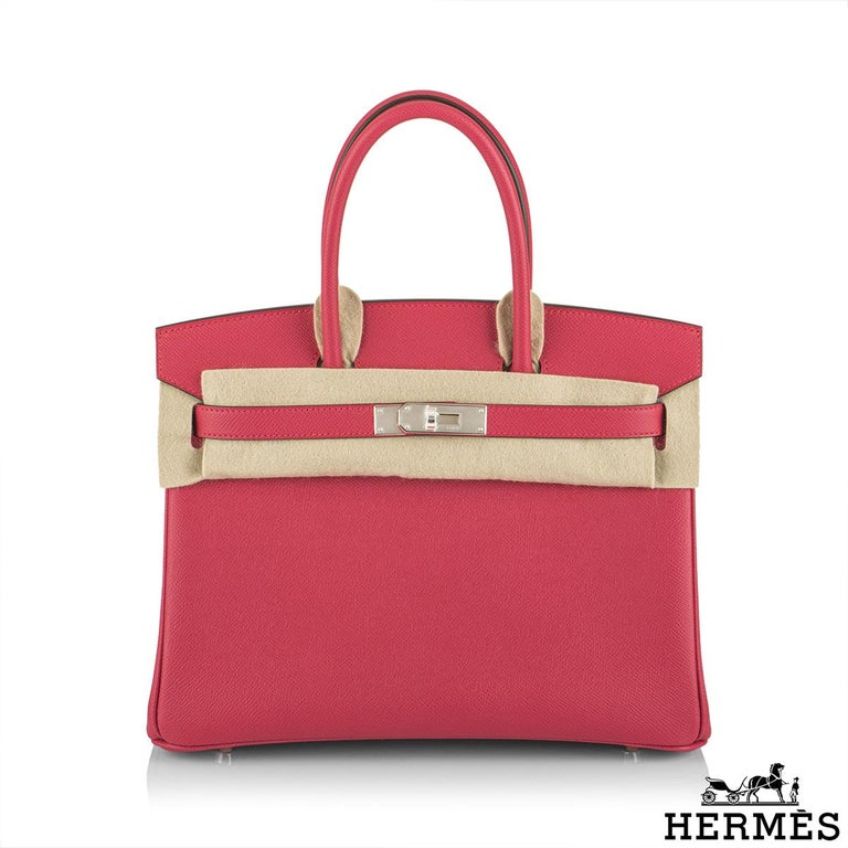 An exquisite Hermès 30cm Birkin bag. The exterior of this Birkin features epsom leather in rose extreme and is detailed with palladium hardware. The exterior of this Birkin has tonal stitching, two straps with front toggle closure. The interior