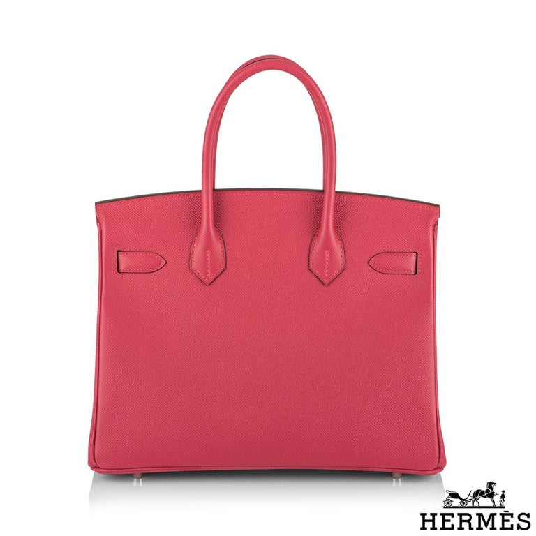 Pink Hermès Birkin 30 Rose Extreme Epsom PHW  For Sale