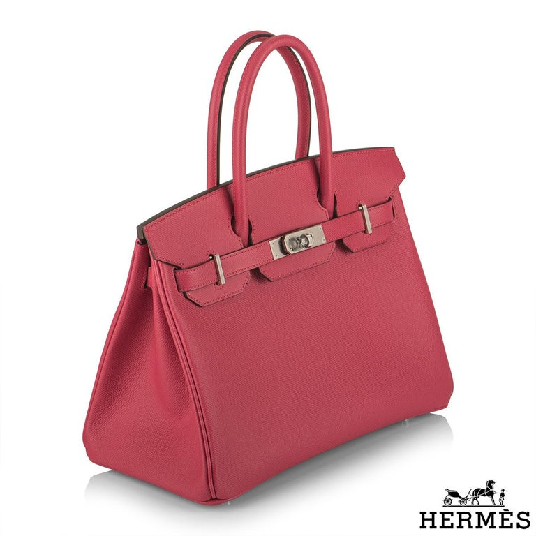 Hermès Birkin 30 Rose Extreme Epsom PHW  In New Condition For Sale In London, GB