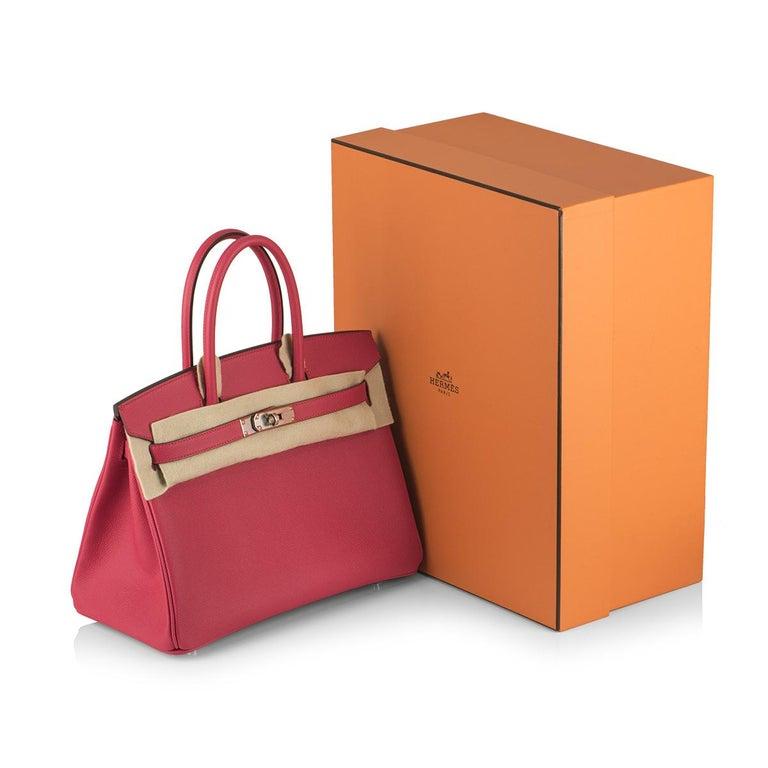 Hermès Birkin 30 Rose Extreme Epsom PHW  For Sale 4