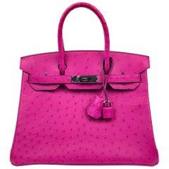 Hermes Birkin 30 Rose Pourpre Ostrich Pink Palladium Hardware 2017