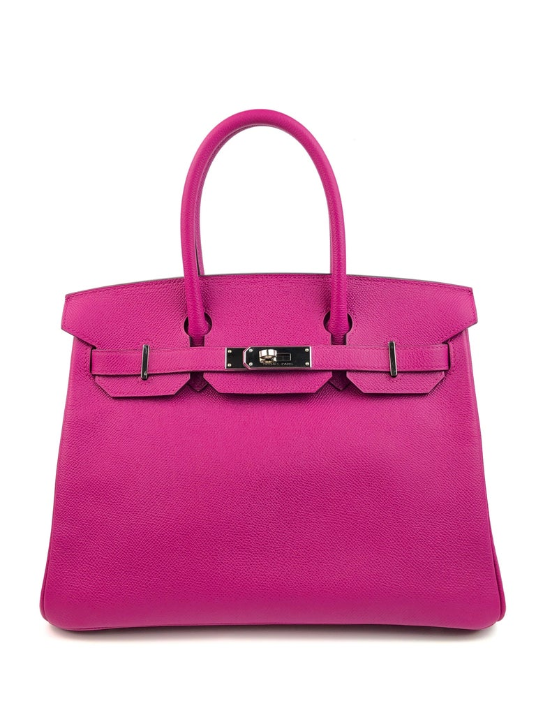 RARE Hermes Birkin 30 Rose Pourpre Epsom Pink Palladium Hardware. C Stamp 2018. Excellent Condition Light Hairlines on Hardware, Excellent corners and Structure.  Shop with Confidence from Lux Addicts. Authenticity Guaranteed!