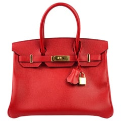 Hermes Birkin 30 Rouge Casaque Red Epsom Gold Hardware