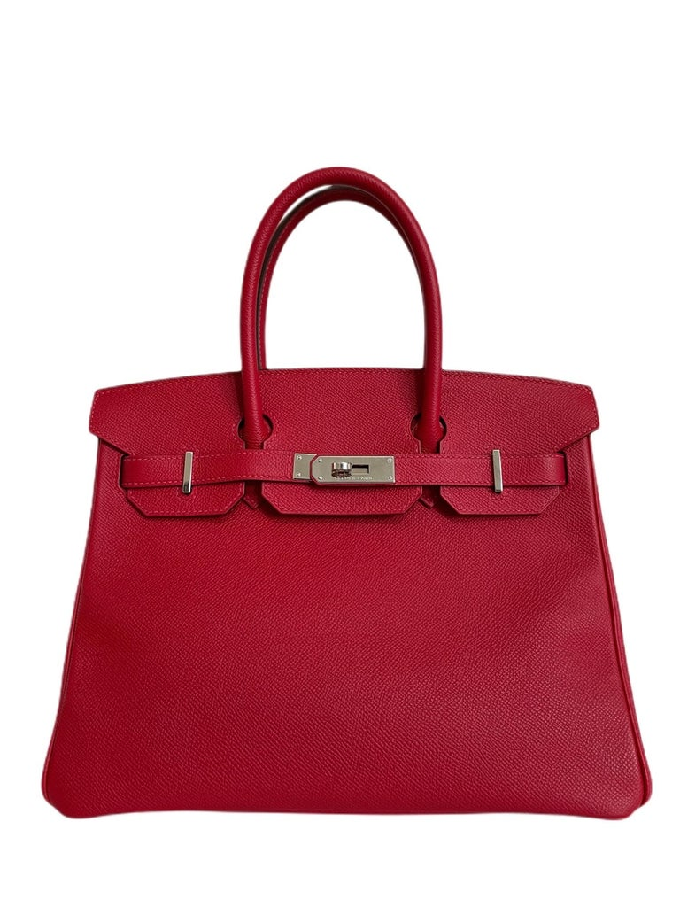 Hermes Birkin 30 Rouge Casaque Red Epsom Palladium Hardware. Excellent Condition, light hairlines on hardware. Excellent corners and structure.   Shop with Confidence from Lux Addicts. Authenticity Guaranteed!