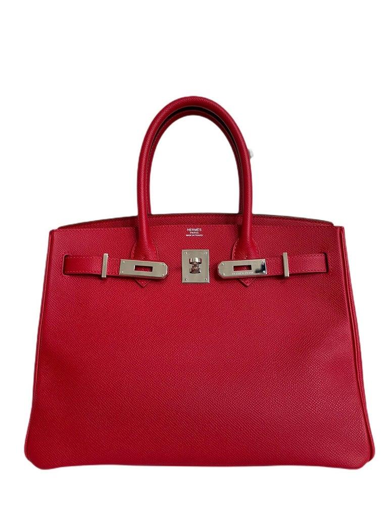 Hermes Birkin 30 Rouge Casaque Red Epsom Palladium Hardware  In Excellent Condition For Sale In Miami, FL