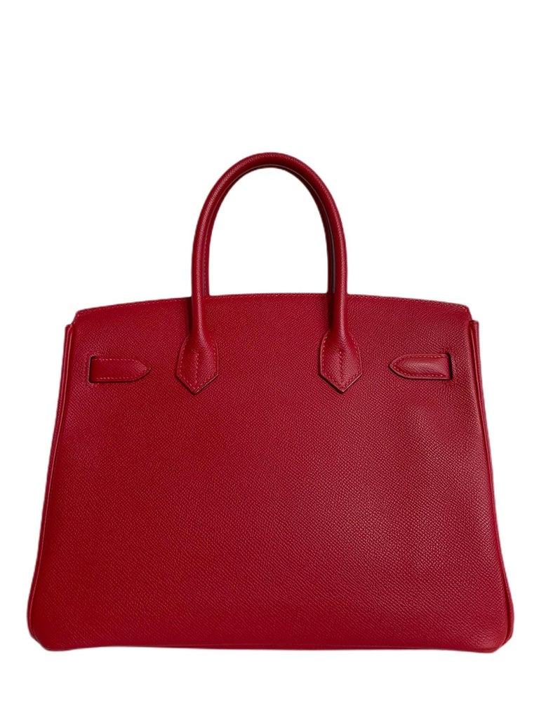Women's or Men's Hermes Birkin 30 Rouge Casaque Red Epsom Palladium Hardware  For Sale