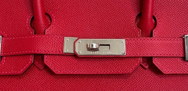 Hermes Birkin 30 Rouge Casaque Red Epsom Palladium Hardware  For Sale 1