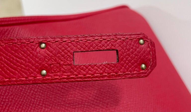Hermes Birkin 30 Rouge Casaque Red Epsom Palladium Hardware  For Sale 2