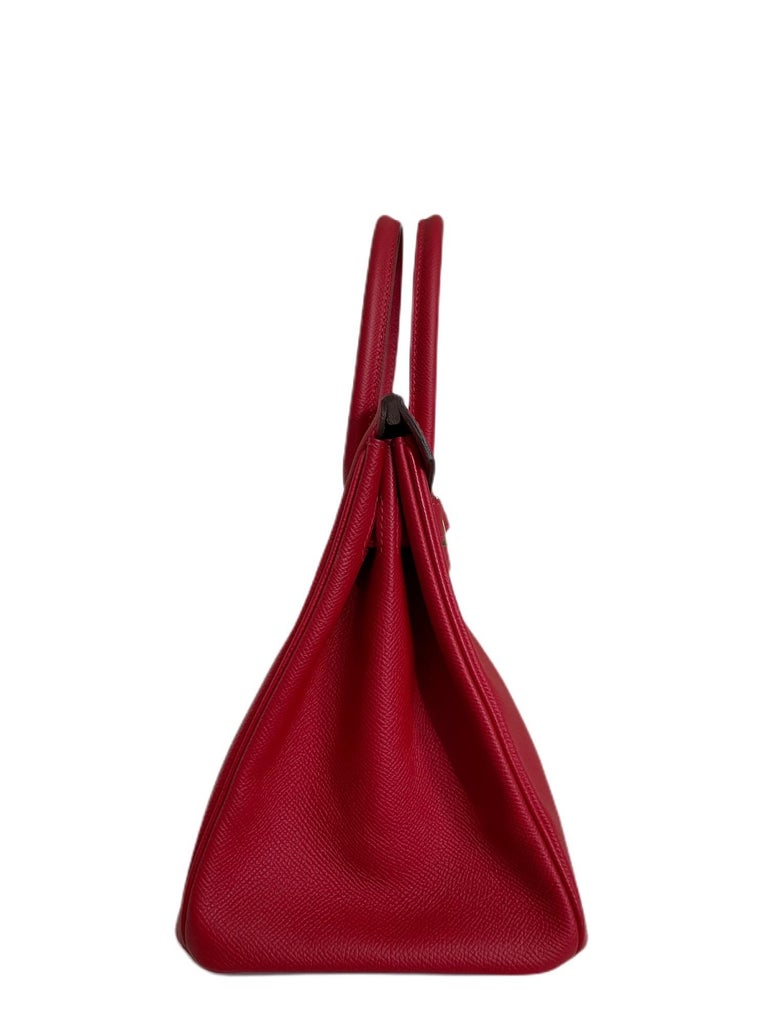 Hermes Birkin 30 Rouge Casaque Red Epsom Palladium Hardware  For Sale 3