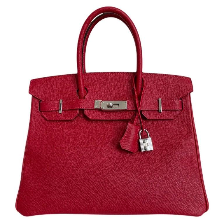 Hermes Birkin 30 Rouge Casaque Red Epsom Palladium Hardware  For Sale