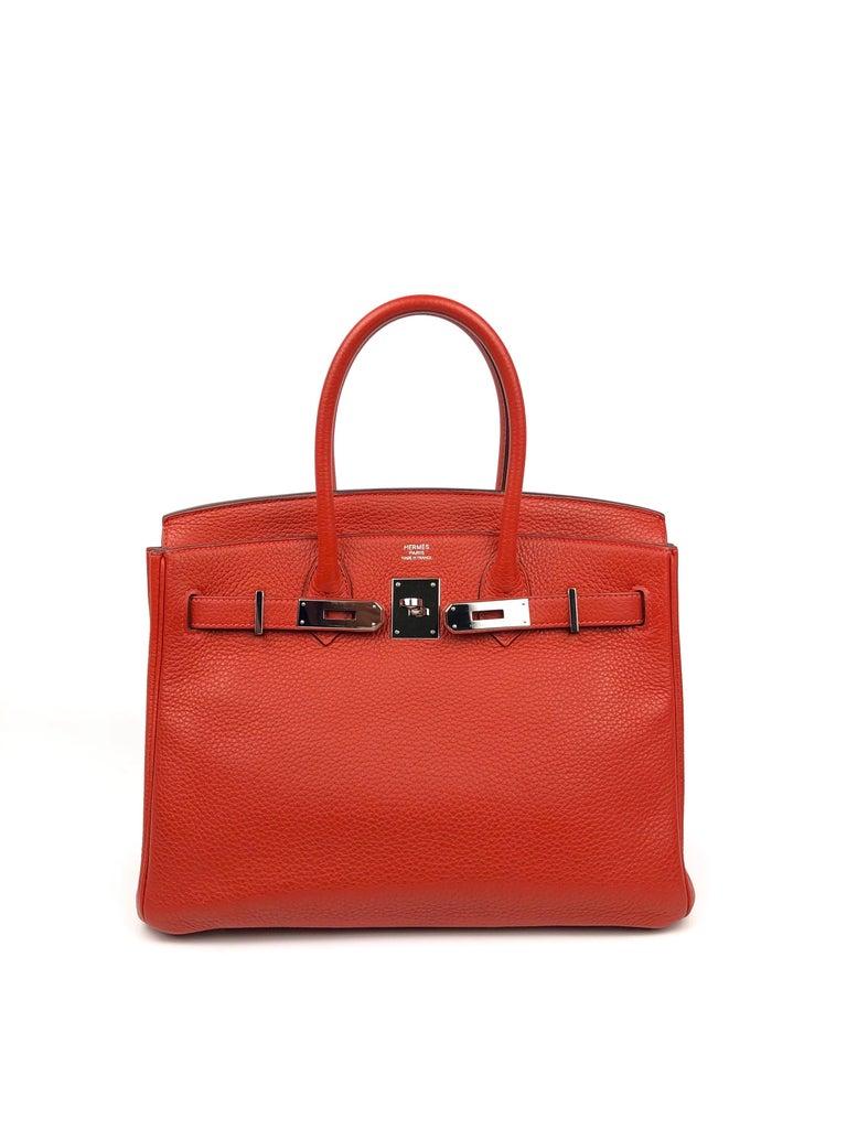 Hermes Birkin 30 Rouge Casaque Red Palladium Hardware In Excellent Condition For Sale In Lancaster, CA