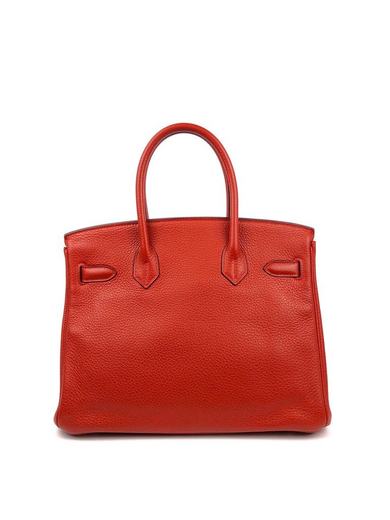 Women's or Men's Hermes Birkin 30 Rouge Casaque Red Palladium Hardware For Sale