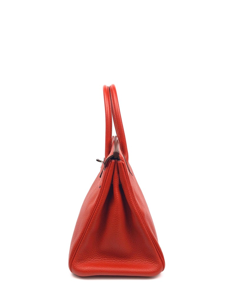 Hermes Birkin 30 Rouge Casaque Red Palladium Hardware For Sale 2