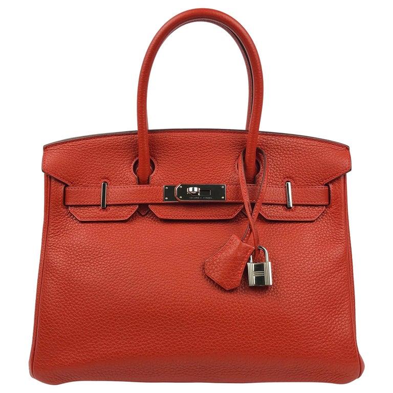 Hermes Birkin 30 Rouge Casaque Red Palladium Hardware For Sale