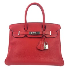Hermes Birkin 30 Rouge Casaque Red Palladium Hardware With Plastic