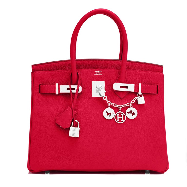 Women's Hermes Birkin 30 Rouge Casaque Verso Bag Red Y Stamp, 2020 RARE Limited Edition For Sale