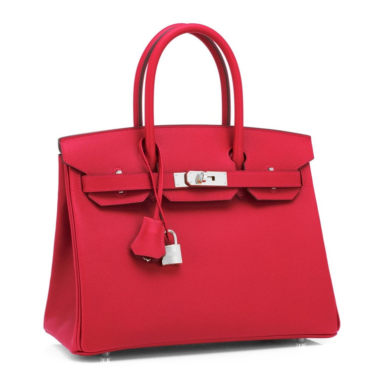 Guaranteed Authentic Hermes Birkin Bag 30cm Rouge de Coeur Epsom Palladium Hardware Y Stamp, 2020 Brand New in Box. Store fresh. Pristine condition (with plastic on hardware). Just purchased from Hermes store; bag bears new 2020 interior Y