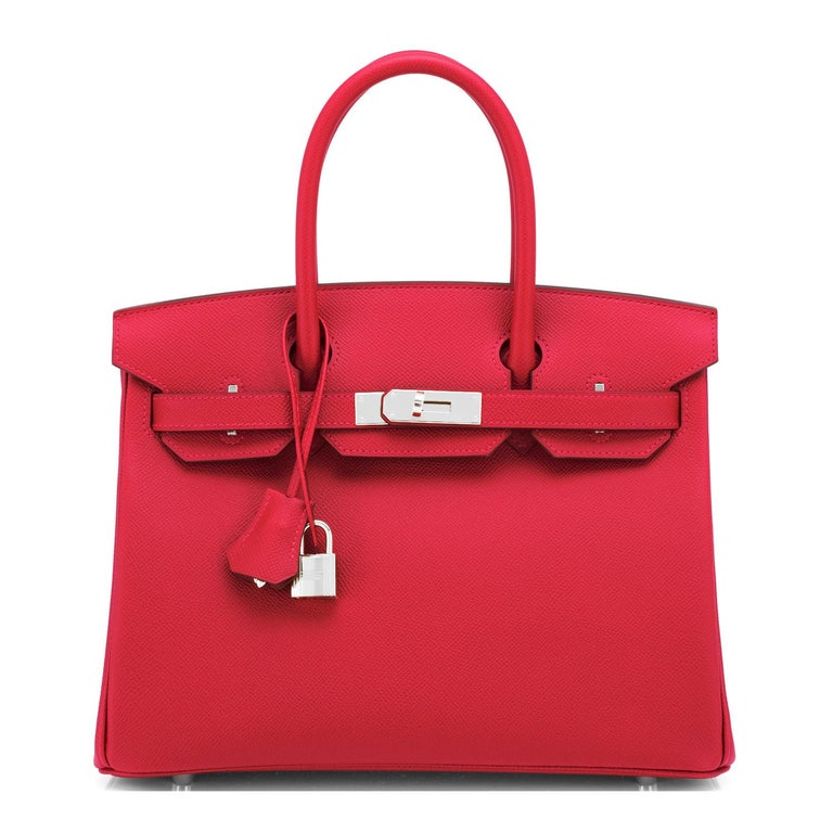 Hermes Birkin 30 Rouge de Coeur Lipstick Red Epsom Palladium Bag Y Stamp, 2020 In New Condition For Sale In New York, NY