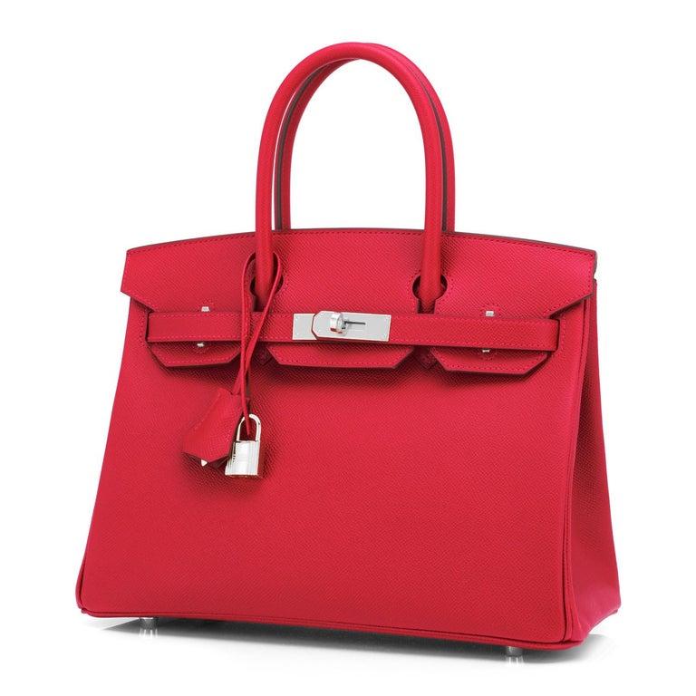 Women's or Men's Hermes Birkin 30 Rouge de Coeur Lipstick Red Epsom Palladium Bag Y Stamp, 2020 For Sale
