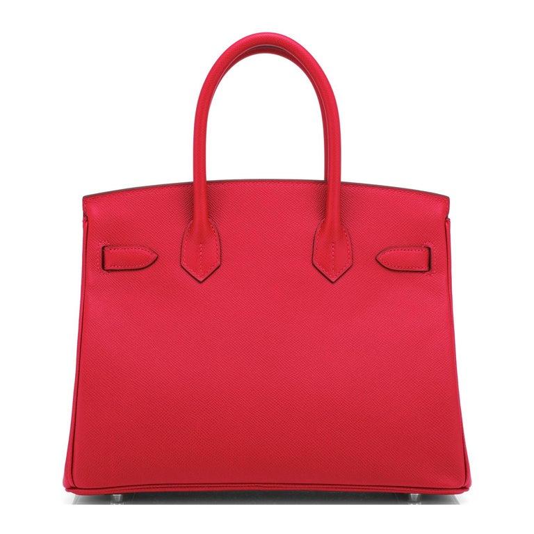 Hermes Birkin 30 Rouge de Coeur Lipstick Red Epsom Palladium Bag Y Stamp, 2020 For Sale 1