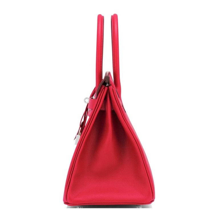 Hermes Birkin 30 Rouge de Coeur Lipstick Red Epsom Palladium Bag Y Stamp, 2020 For Sale 2