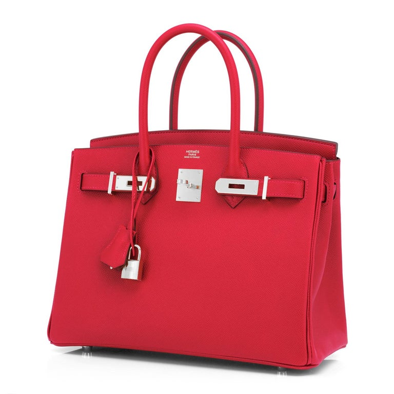 Hermes Birkin 30 Rouge de Coeur Lipstick Red Epsom Palladium Bag Y Stamp, 2020 For Sale 3