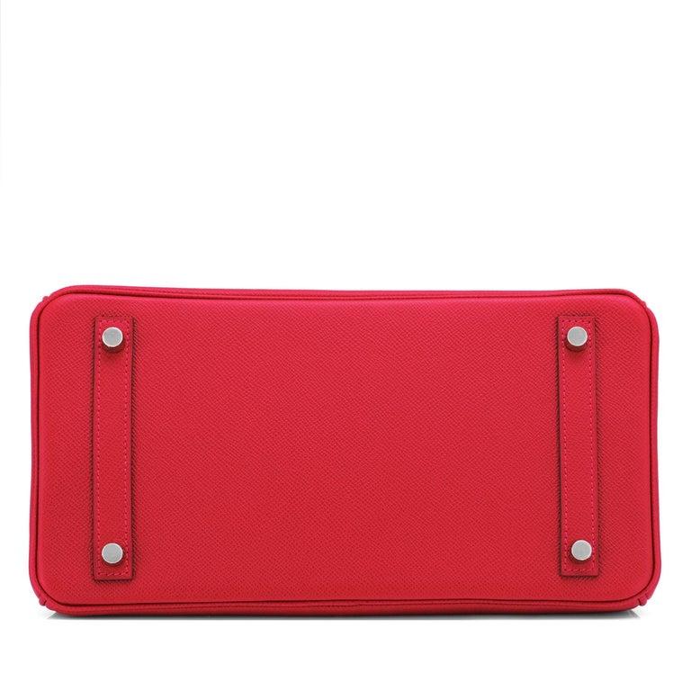 Hermes Birkin 30 Rouge de Coeur Lipstick Red Epsom Palladium Bag Y Stamp, 2020 For Sale 4
