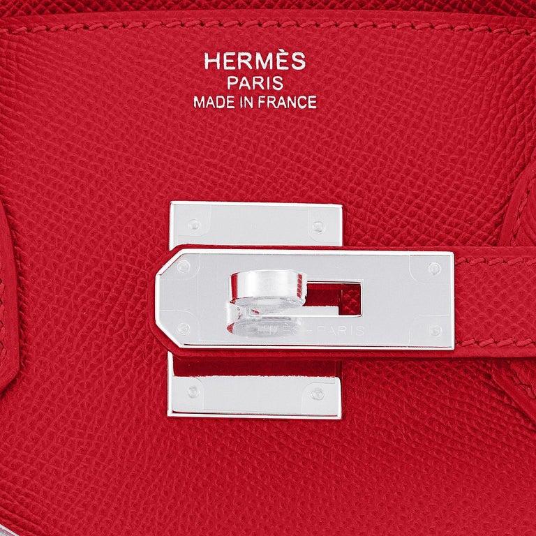 Hermes Birkin 30 Rouge de Coeur Lipstick Red Epsom Palladium Bag Y Stamp, 2020 For Sale 5