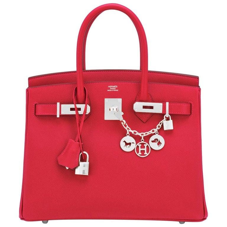 Hermes Birkin 30 Rouge de Coeur Lipstick Red Epsom Palladium Bag Y Stamp, 2020 For Sale