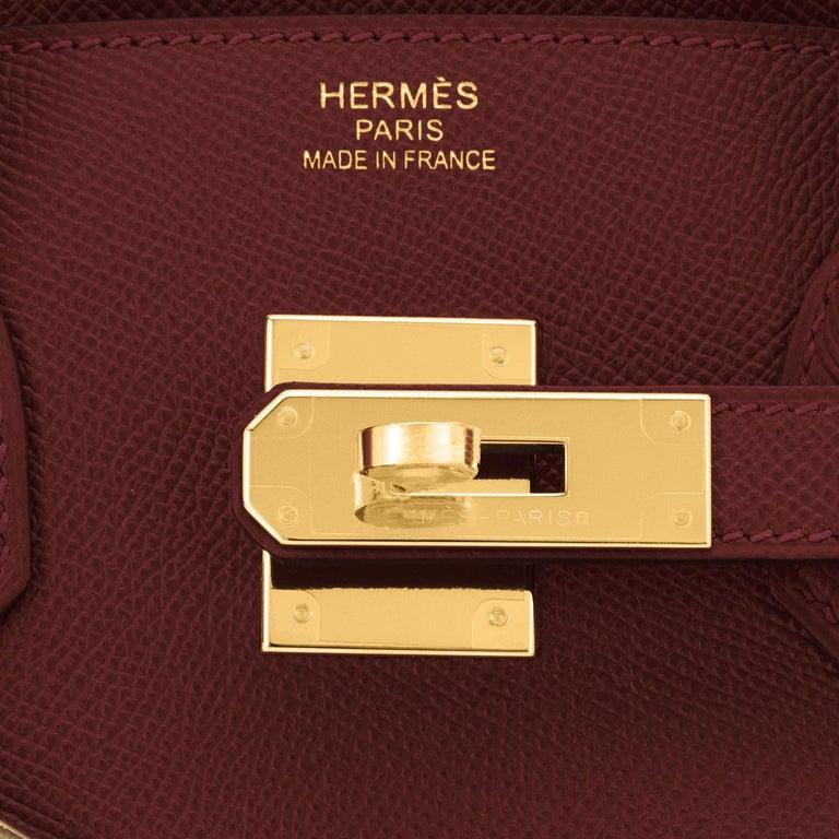 Hermes Birkin 30 Rouge H Red Birkin Epsom Bordeaux Gold Bag Y Stamp, 2020 For Sale 5