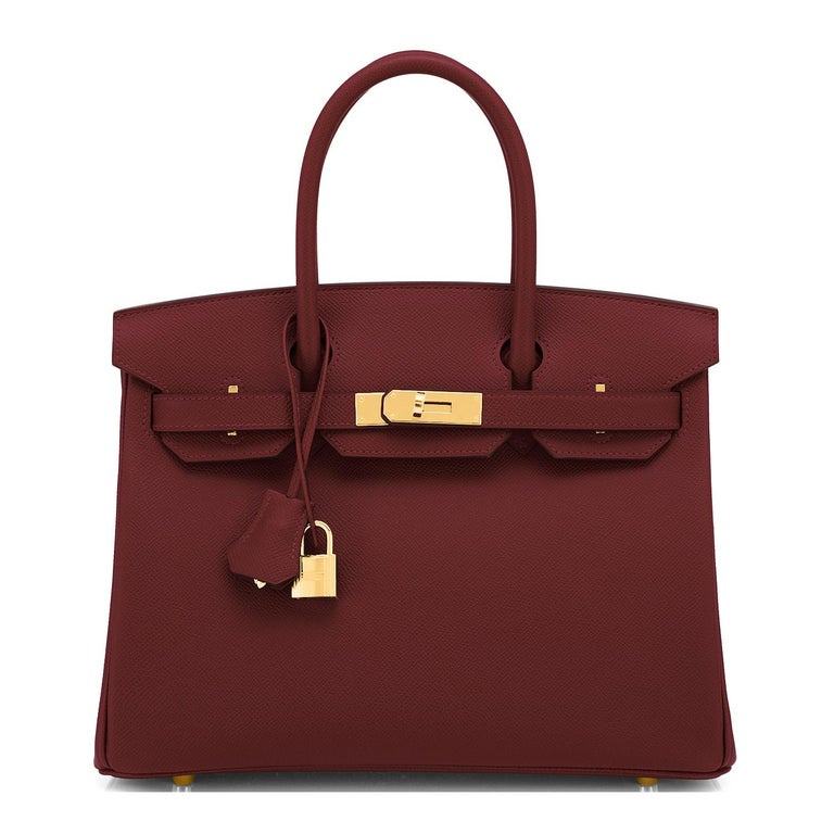 Brown Hermes Birkin 30 Rouge H Red Birkin Epsom Bordeaux Gold Bag Y Stamp, 2020 For Sale