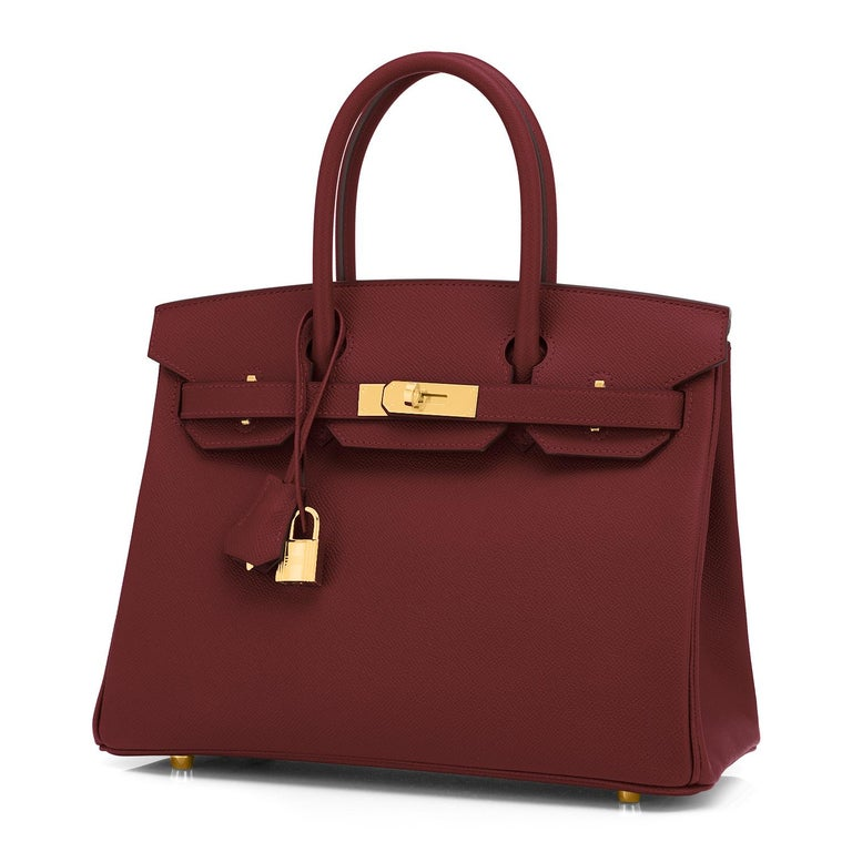 Hermes Birkin 30 Rouge H Red Birkin Epsom Bordeaux Gold Bag Y Stamp, 2020 In New Condition For Sale In New York, NY