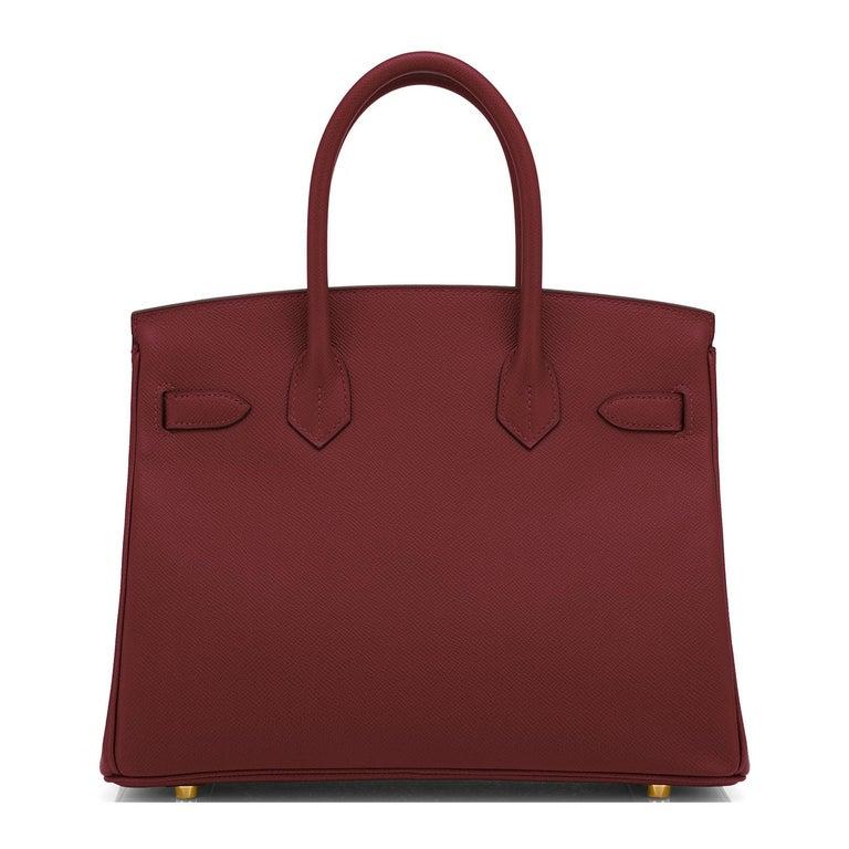 Women's or Men's Hermes Birkin 30 Rouge H Red Birkin Epsom Bordeaux Gold Bag Y Stamp, 2020 For Sale