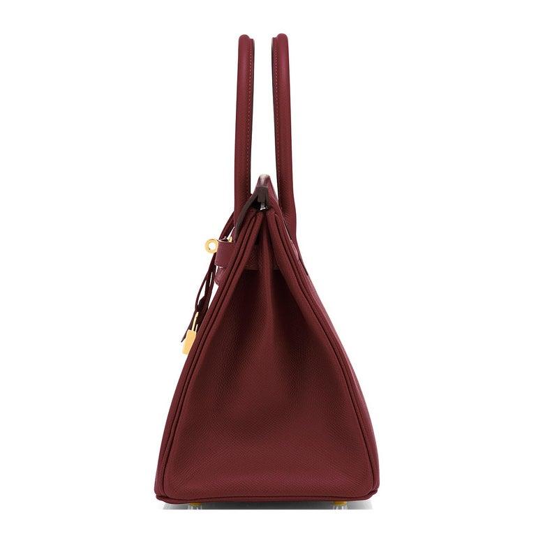 Hermes Birkin 30 Rouge H Red Birkin Epsom Bordeaux Gold Bag Y Stamp, 2020 For Sale 1
